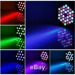 10X 36 LED RGB Par Can Flat Stage Lights DMX512 DJ Disco Bar Uplighter Lighting
