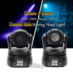 2x50W RGBW Spot Laser Moving Head LED Double Side Stage Lighting DMX Disco DJ