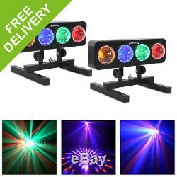 2x 4 Way LED DJ Lights Red Green Blue Amber IRC Remote Floor Stands Disco Party