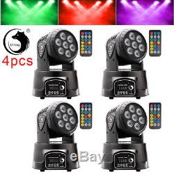 4PCS 7LED RGBW Moving Head Stage Light With Remote Controller DMX Disco Light