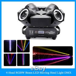 4-Heads 200W RGBW LED Moving Head Light DMX Beam Disco Party Show Stage Lighting