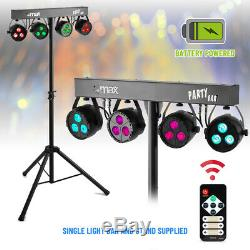 Battery Powered LED PartyBar Lights PAR Disco Stage Lighting T-Bar Stand & Bags