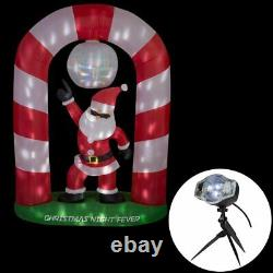 Christmas Home Accents Holiday 8 ft LED Lighted Disco Santa Scene Inflatable