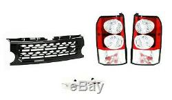 Discovery 3 Clear Led Tail Lights & Disco 4 Look Front Black Grille Upgrade Kit