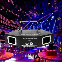 LED RGB Stage Light Lighting Laser Strobe Beam DMX512 Disco DJ Projector 4 Lens