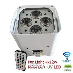Par Light 4x12w DMX RGBWA+UV 6in1 LED Battery Powered Wireless iOS Android APPs