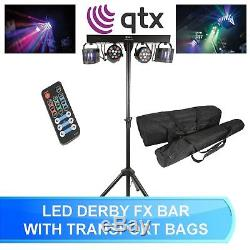Qtx Derby Fx Led Party Bar All In One Disco Stage Band Dj Lighting System + Bags