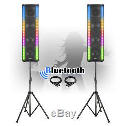 Set of House Party Disco Speakers, Bluetooth, LED Flashing Lights 1200W & Stands